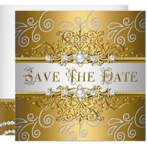 Save The Date Elegant Gold Silver Lace Diamond Card