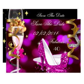 Save The Date Fabulous 40 Hot Pink Gold Bubbles