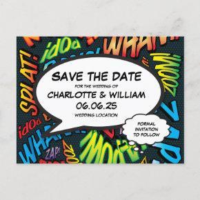 Save the Date Fun Retro Comic Book Pop Art Announcement Post