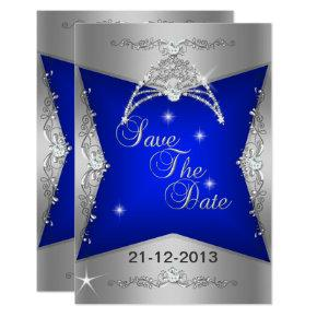 Save The Date Sweet 16 Blue Silver Tiara Card