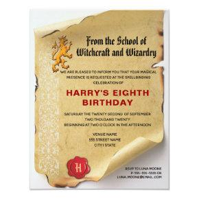 School of Witchcraft and Wizardry Birthday Party Invitation