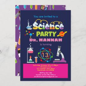 Science birthday party laboratory for girl invitation