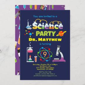 Science birthday party laboratory kid invitation