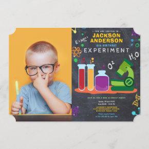 science birthday party photo invitation