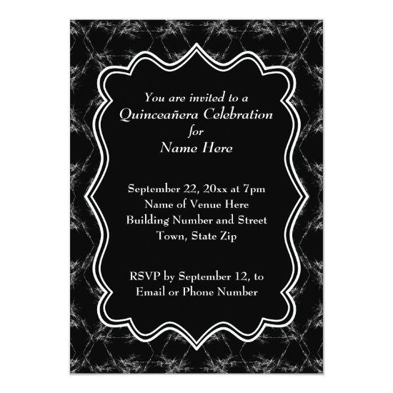 90ceca627d Scratchy Pattern Print Black White Quinceanera Invitation – Candied ...