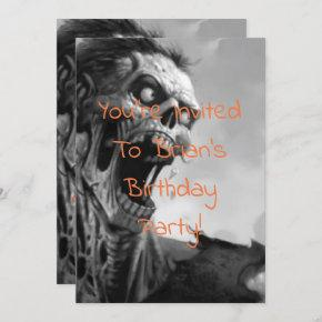 screaming zombie birthday invitation