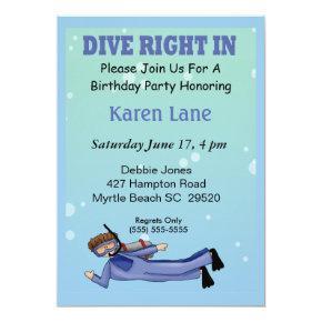 Scuba Diver Kids Birthday Invitations