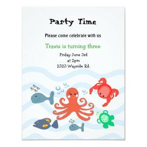 Sea Critters Birthday Party Invitation