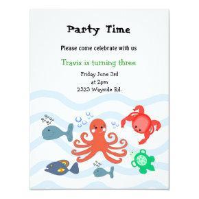Sea Critters Birthday Party Invitations