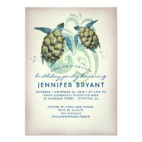 Sea Turtles Beach Tropical Birthday Party Invitation