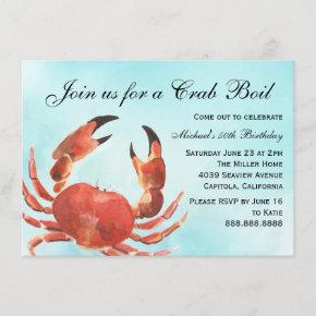 Seafood Crab Boil Summer Birthday Party Invitation