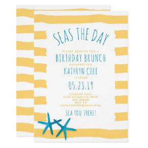 Seas The Day Beach Birthday Brunch Invitation