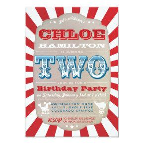 Second Birthday Circus Carnival Party Invitations