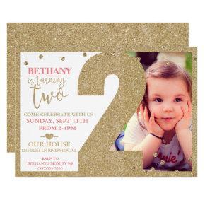Second Birthday Gold Glitter & Pink Invitation