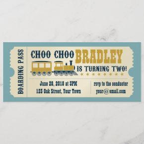 Second Birthday Train Ticket Invitation
