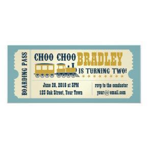 Second Birthday Train Ticket Invitations