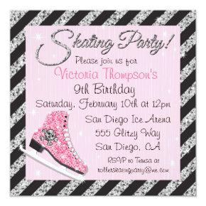 Sequin Skull Ice Skating Party Invitations