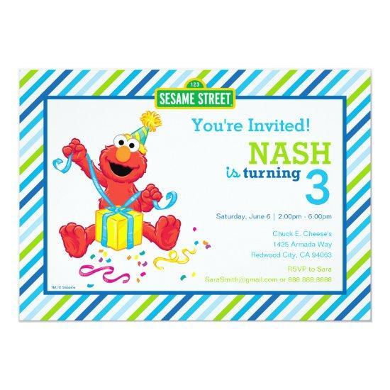Sesame Street   Elmo - Boys Birthday Striped Invit Card