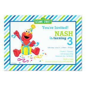 Sesame Street | Elmo - Boys Birthday Striped Invit Invitation