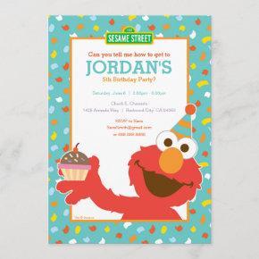 Sesame Street | Elmo - Cupcake & Confetti Birthday Invitation