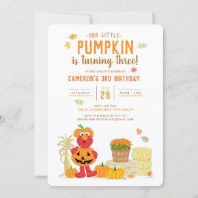 Sesame Street - Elmo   Pumpkin 3rd Birthday Invitation