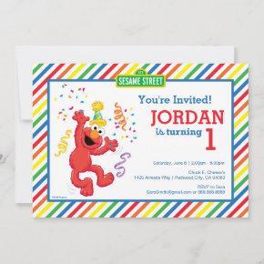 Sesame Street | Elmo - Rainbow 1st Birthday Invitation