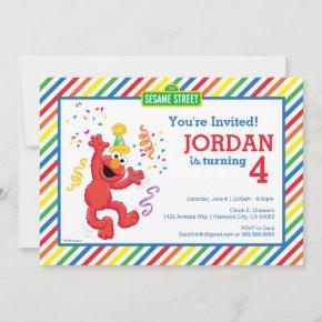 Sesame Street   Elmo - Rainbow 4th Birthday Invitation