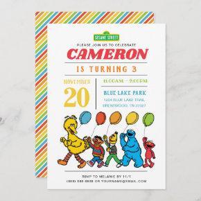 Sesame Street Pals | Balloons 3rd Birthday Invitation
