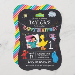 Sesame Street Pals Chalkboard Photo 1st Birthday Invitation