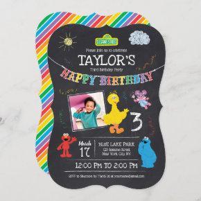 Sesame Street Pals Chalkboard Photo 3rd Birthday Invitation
