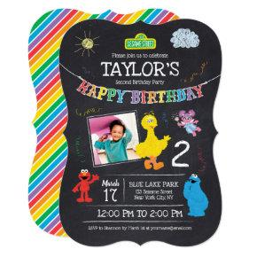 Sesame Street Pals Chalkboard Photo Birthday Invitations