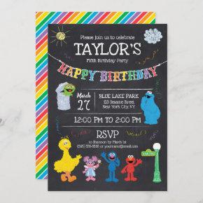 Sesame Street Pals Chalkboard Rainbow 5th Birthday Invitation