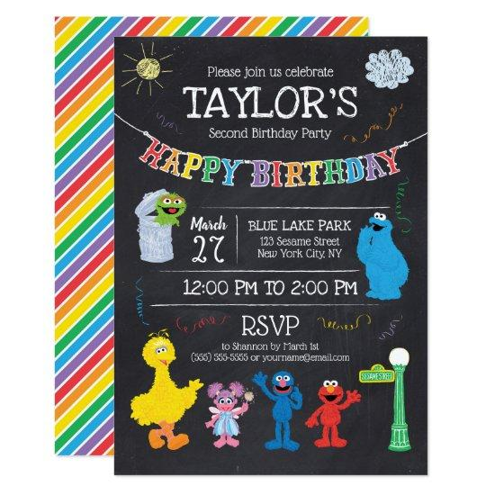 Sesame Street Pals Chalkboard Rainbow Birthday