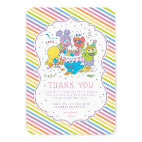 Sesame Street | Striped Baby Birthday Thank You Invitation