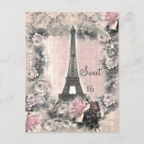 Shabby Chic Eiffel Tower & Roses Sweet 16 Invitation