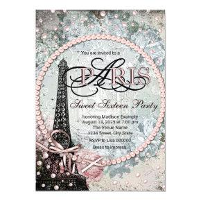 Shabby Chic Paris Sweet 16 Party Invitations