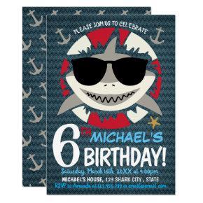 Shark 6th Birthday Party Invitation
