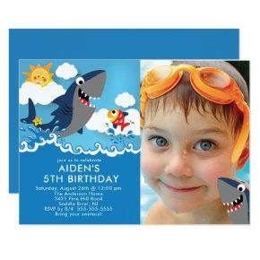 Shark Attack Pool Birthday Invitation