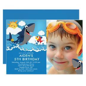 Shark Attack Pool Birthday Invitations