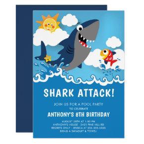 Shark Attack Pool Party Birthday Invitations