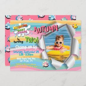 Shark Baby Girl Rainbow Photo Birthday Party Invitation