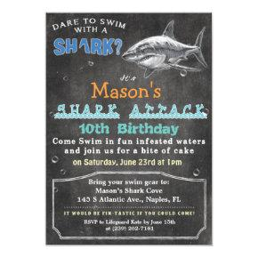 Shark Birthday Chalkboard Invitation
