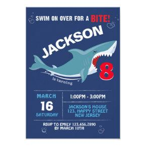 Shark Birthday Invitation. Bite party Invitation