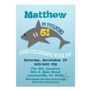 Shark Birthday Invitation Boy Aquarium Invite