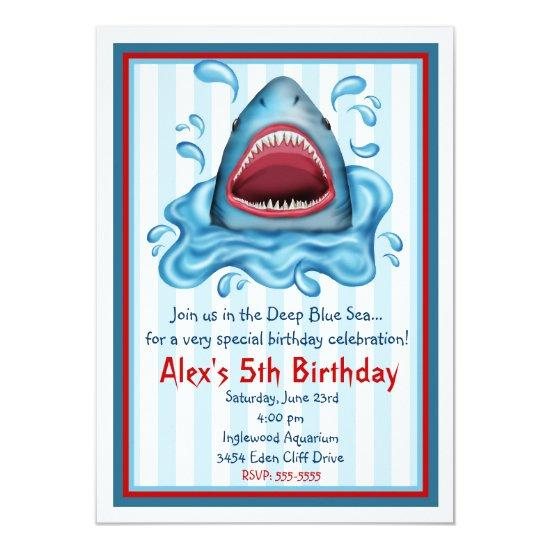 Shark birthday invitations candied clouds shark birthday invitations filmwisefo