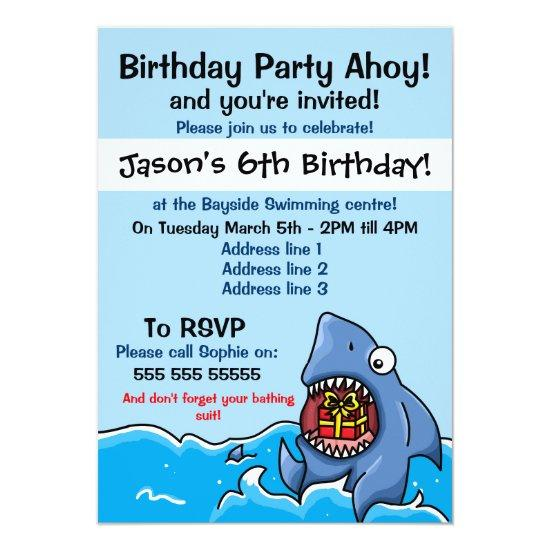 shark birthday party invitations candied clouds
