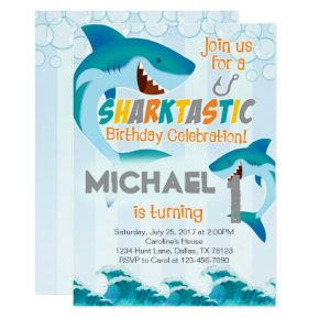 Shark Birthday Party Invitation Boy Summer