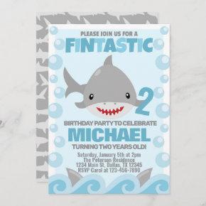 Shark Birthday Party Invitation Invite
