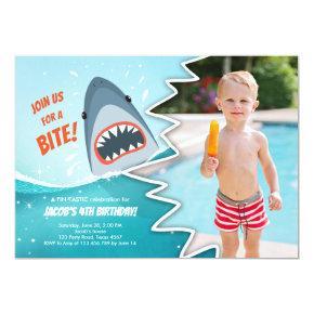 Shark Birthday Pool party boy Shark Bite Bait Swim Invitation