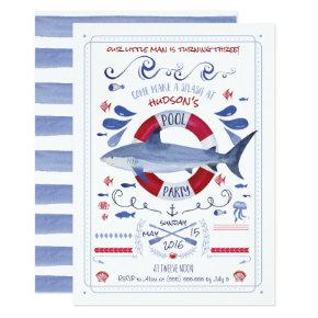 Shark Birthday Pool Party Invitation